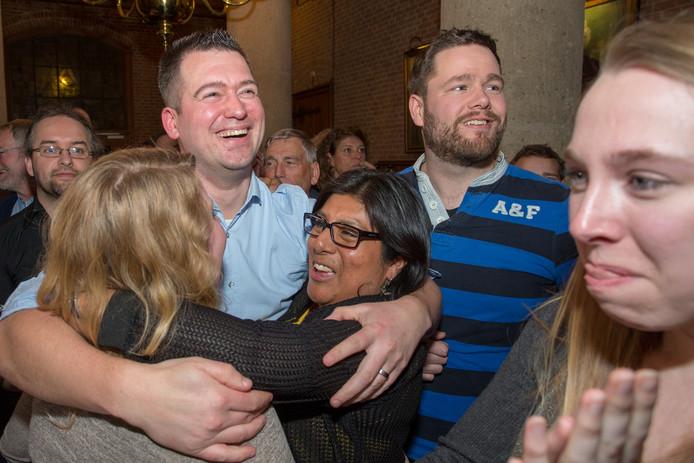 PvdA/GroenLinks Vught tijdens de verkiezingsavond in maart.