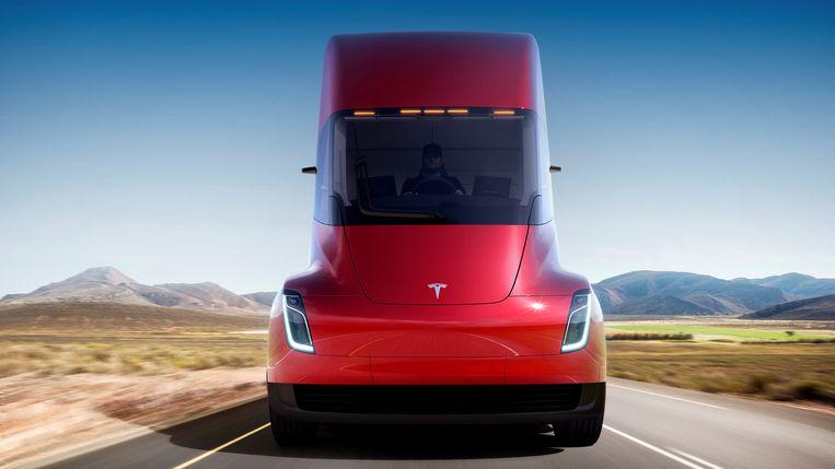 De Semi, de elektrische truck van Tesla die vannacht werd voorgesteld. Beeld REUTERS
