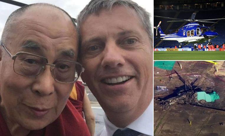 Links: piloot Eric Swaffer was ook geregeld piloot voor de Britse koninklijke familie en andere bekendheden, zoals Dalai Lama. Rechts: Vichai Srivaddhanaprabha werd na de matchen van Leicester opgepikt met een helikopter, maar het toestel stortte zaterdagavond neer na de match tegen West Ham United.