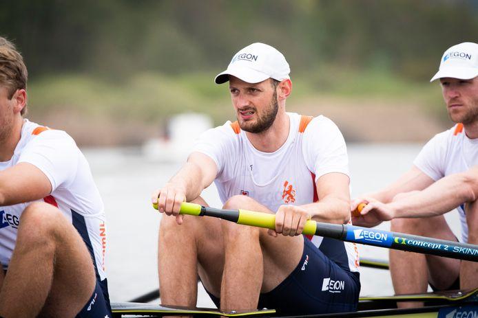 Sander de Graaf uit Made met zijn ploeggenoten in actie tijdens de series op het EK roeien vierzonder in april 2021.