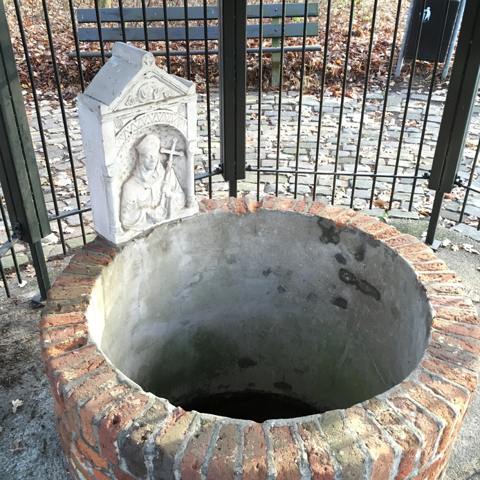 Gedenksteen uit 1926 in het Willibrordusputje die verwijst naar een dopende Willibrordus.