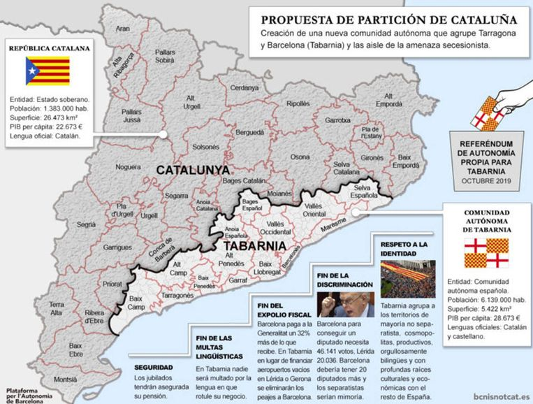 De nieuwe regio 'Tabernia'. Beeld bcnisnotcat.es