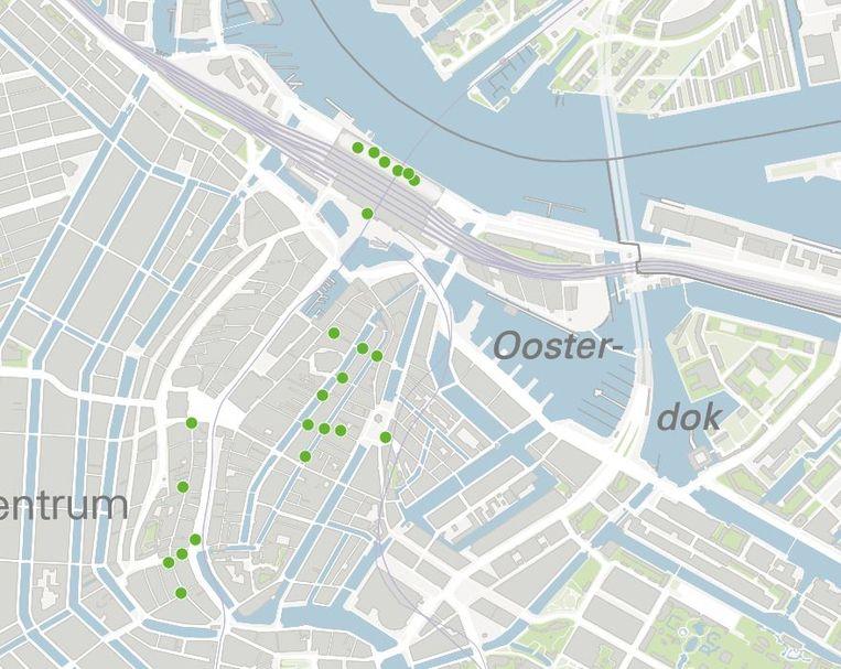 De locaties van de gemeentelijke wifi-sensoren in het centrum van Amsterdam. Beeld null