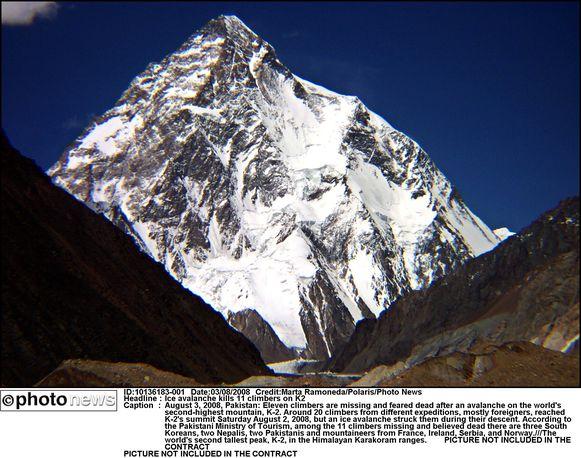 De piramidevormige reus op de grens van Pakistan en China is met 8.611 meter de op een na hoogste top ter wereld.