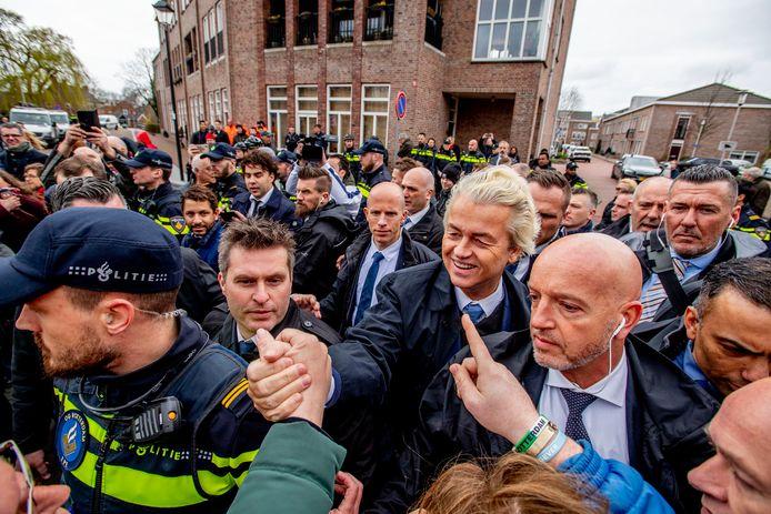 Geert Wilders in Spijkenisse, enkele dagen voor de laatste Provinciale Statenverkiezingen.