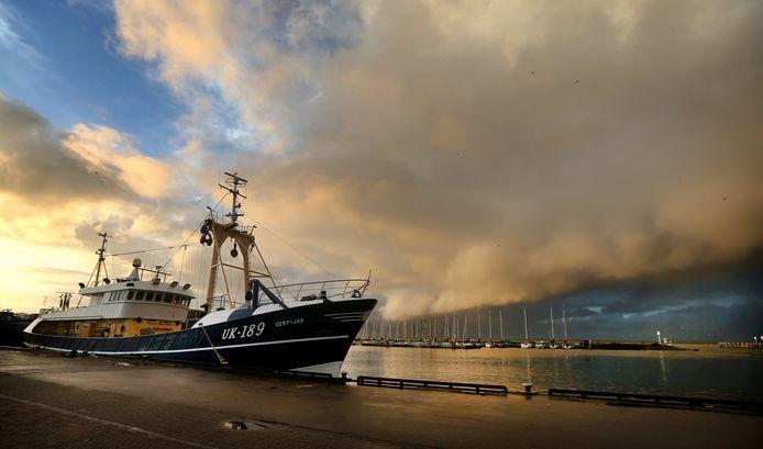 Vissersboot in de haven van Urk.