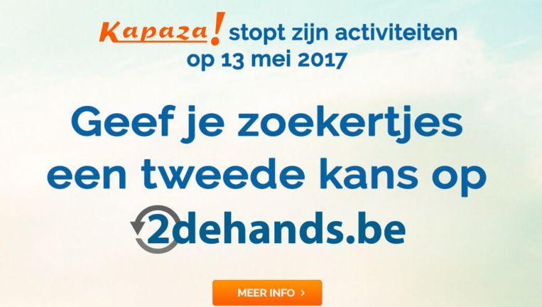 Wie de site van Kapaza opent, krijgt bovenstaand scherm te zien.