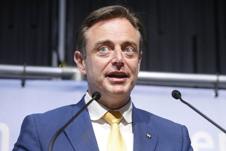 Bart De Wever speecht tijdens het Antwerps stadscongres van de N-VA op 6 mei.  Beeld BELGA