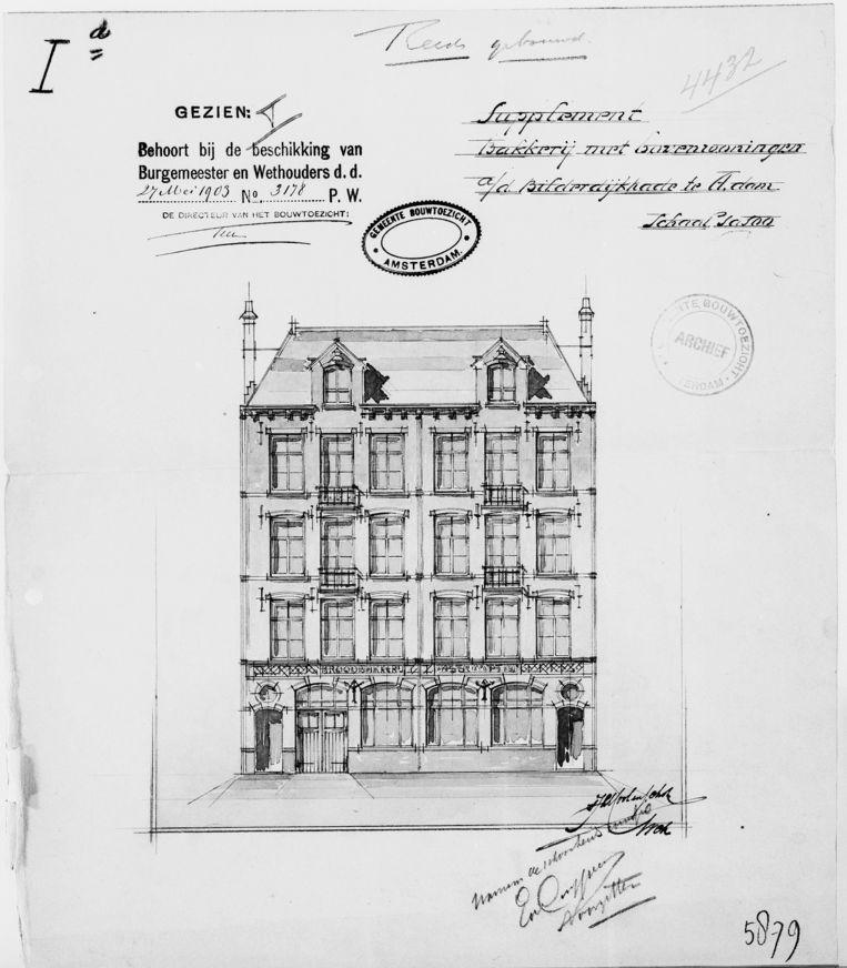 Bouwtekening van de bakkerij aan de Bilderdijkkade, met bovenwoningen. Beeld Stadsarchief