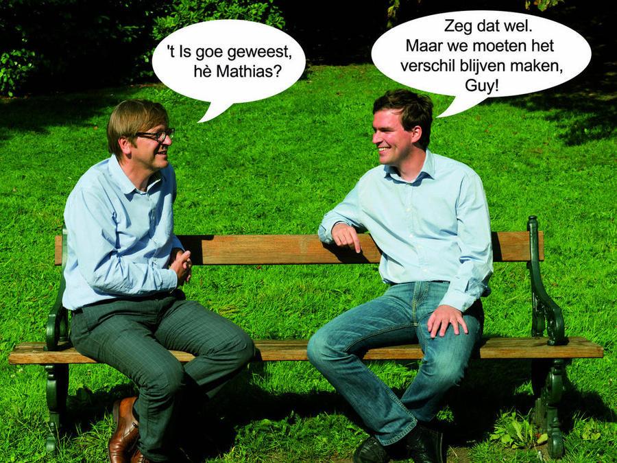 Guy Verhofstadt (l.) en Mathias De Clercq.