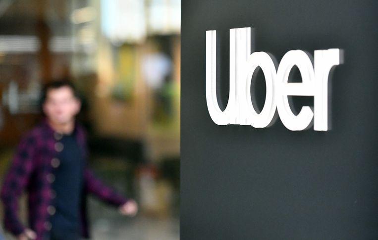 Het logo van Uber. Beeld AFP