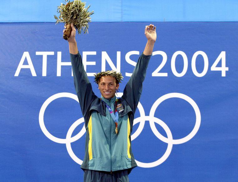 Ian Thorpe in betere dagen: toen hij in 2004 de gouden medaille op de 200m crawl won. Beeld AFP