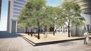 Om bomen te kunnen aanplanten, moet het Mediaplein worden opgehoogd.