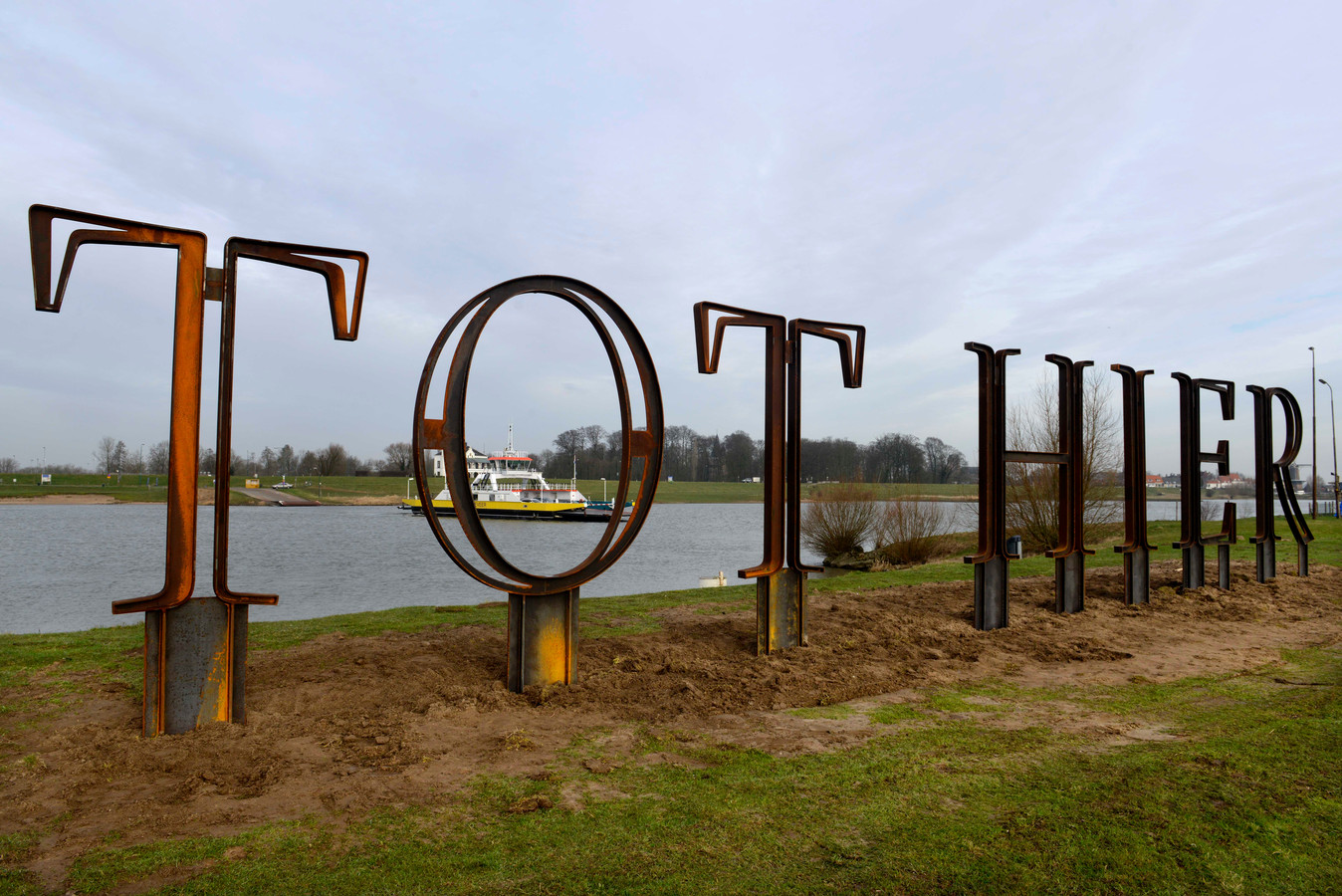 De letters Tot Hier bij Rijswijk symboliseren het einde van de Romeinse opmars
