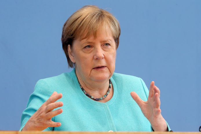 Angela Merkel en conférence de presse à Berlin, le 22 juillet 2021.