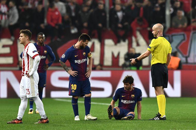 Sergi Roberto kon gisteren net voor rust niet meer verder.
