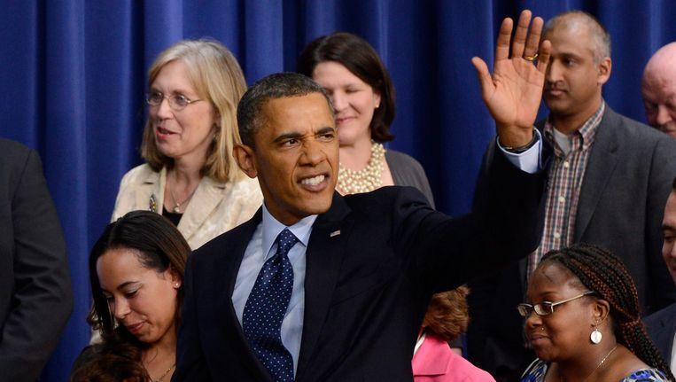 Barack Obama na een persconferentie over de fiscal cliff. Beeld EPA