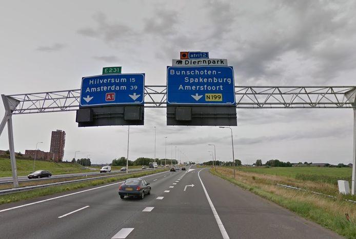 Afslag 12 heet nu Amersfoort-West en niet langer Bunschoten-Spakenburg.