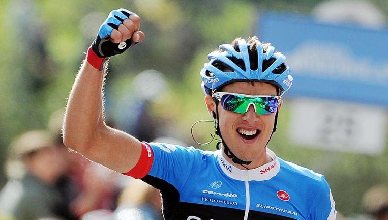 De Litouwer Navardauskas wint de etappe en neemt de gele trui over van Dowsett. Beeld EPA