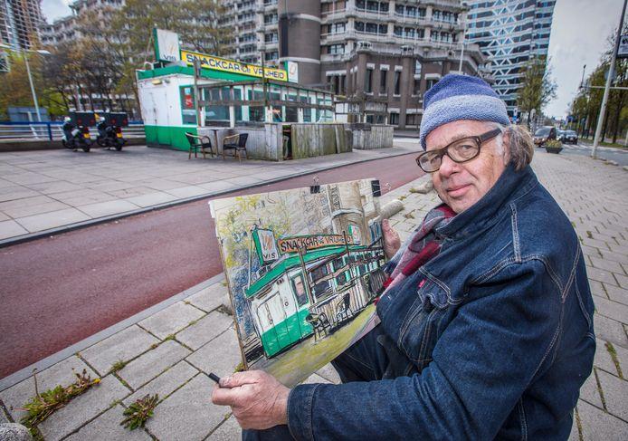 Kunstenaar Alex Verduijn den Boer heeft snackcar De Vrijheid vastgelegd in een tekening. Op de achtergrond het voormalige ministerie van Buitenlandse Zaken, waar de Tweede Kamer de komende jaren haar intrek neemt.