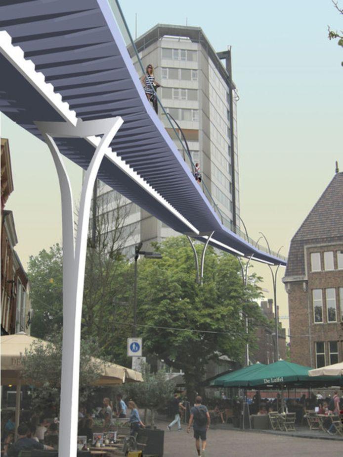 De pijlers van het verhoogde fietspad kunnen met groen worden aangekleed