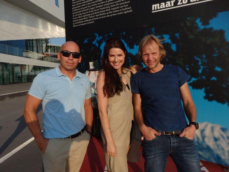 Merijn Vunderink (Nederlandse Ski Vereniging), Kim Captein (Captein Productions) en Hajo Smit (vlnr, Wintersportweerman): 'PR is ook vaak plichtpleging.' Beeld Schuim
