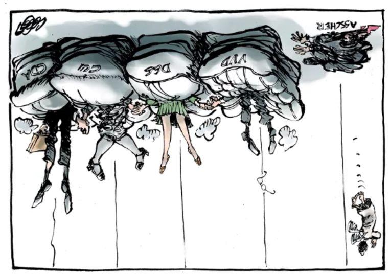 De tekening van Collignon (op z'n kop).  Beeld