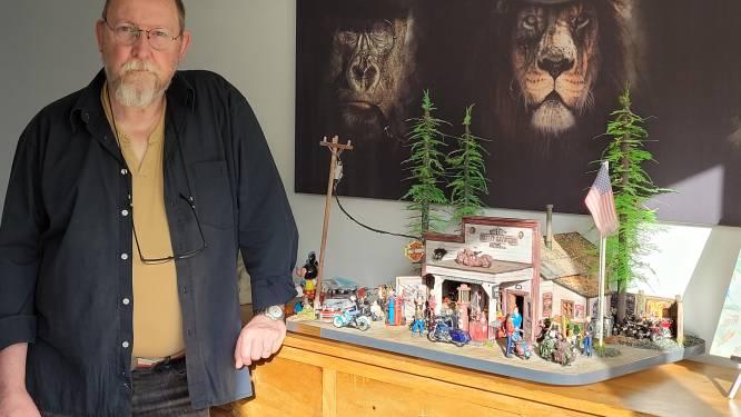 """Motorrijder Patrick (63) bouwt indrukwekkend diorama rond Harley-Davidson: """"Drie jaar en meer dan 3.000 uur aan gewerkt"""""""