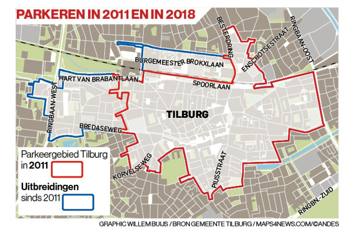 Parkeergebieden, 2011 versus 2018