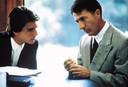 Dustin Hoffmann (rechts) met Tom Cruise die in de beroemde film Rain Man (uit 1989) een typische autist speelt.