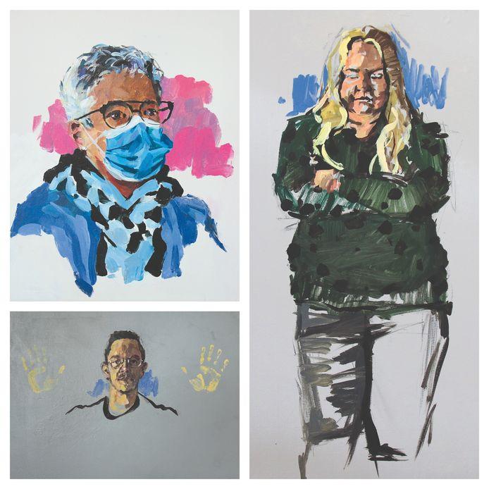 Drie portretten van helden in de zorg, gemaakt door Bergse kunstenaar Mart Franken.