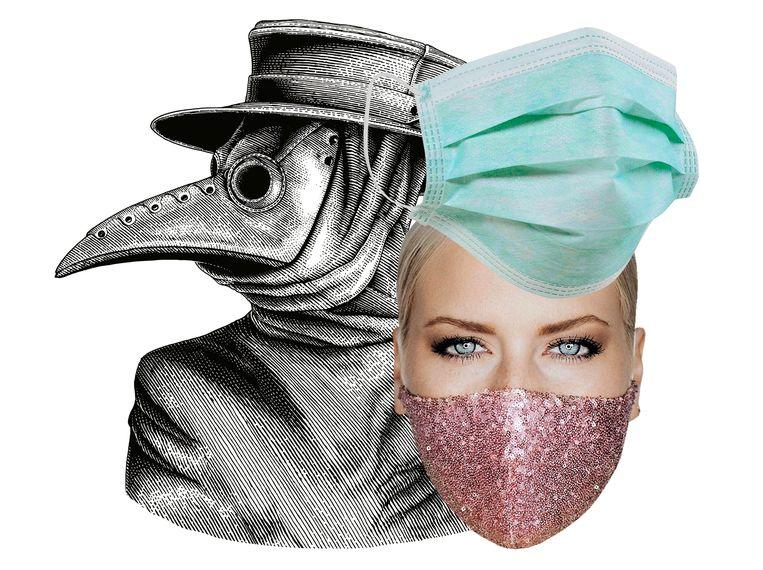 Door de eeuwen heen is het mondmasker sterk geëvolueerd. Van de vogelmaskers van de pestdokters over simpele chirurgische maskers tot echte modeaccessoires. Beeld rv