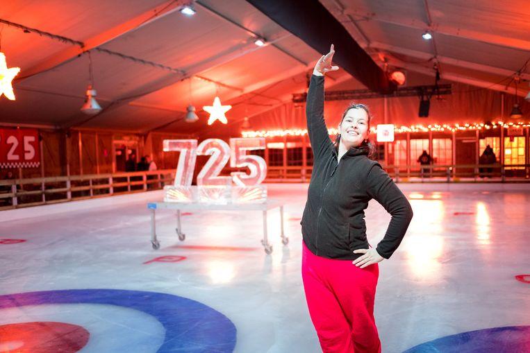 Schaatskampioene Wendy de Coster mocht vorig jaar de ijspiste inschaatsen.