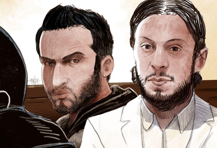 Een rechtbankschets van Sofien Ayari en Salah Abdeslam. Beiden waren niet aanwezig in de rechtszaal. Beeld Palix