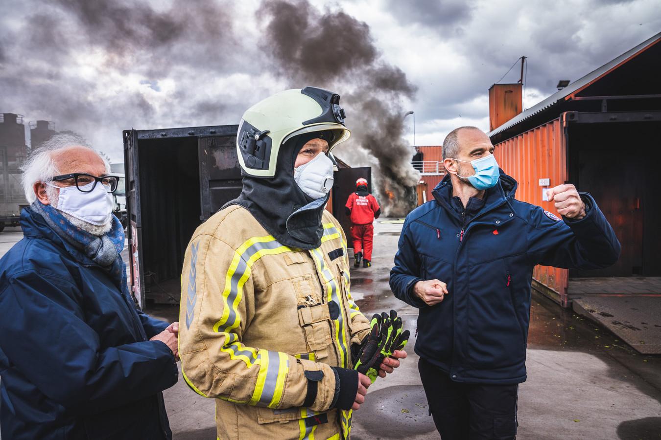 minister Matthias Diependaele op bezoek bij het oefenclomplex van de brandweer in Gent