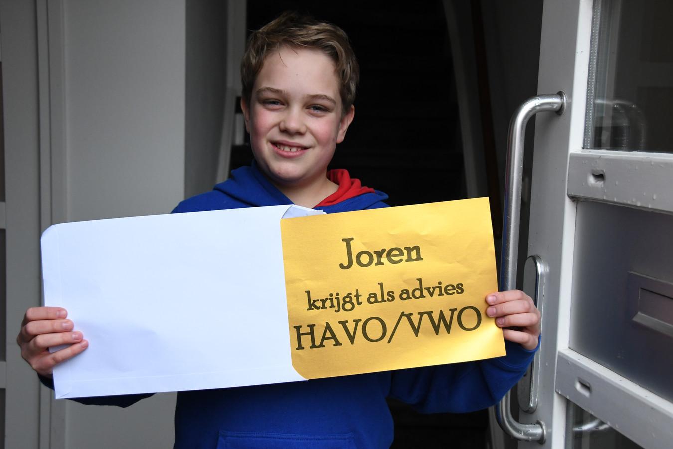 Joren Jongen(12) is blij met het schooladvies