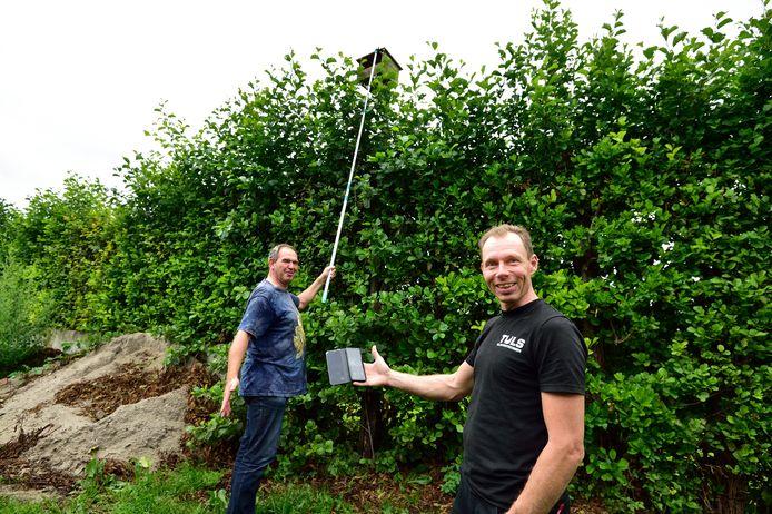 Peter Siebelink houdt een camera boven de nestkast van de torenvalken, waardoor Johan Tuls op zijn mobiel de situatie kan beoordelen.