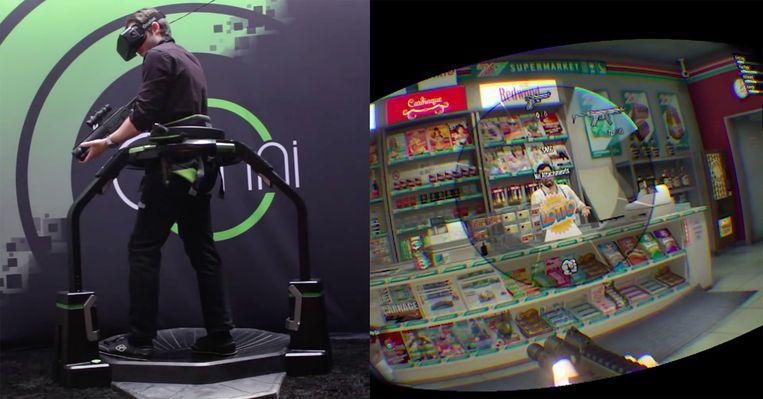 Links: een gamer op de Omni-loopband. Rechts: Het beeld dat de gamer ziet door zijn virtual reality-vizier. Hij speelt het spel Grand Theft Auto V. Beeld Virtuix