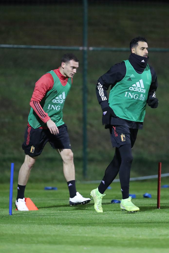 Thomas Vermaelen et Nacer Chadli durant l'entraînement des Diables Rouges le 14 novembre à Tubize.