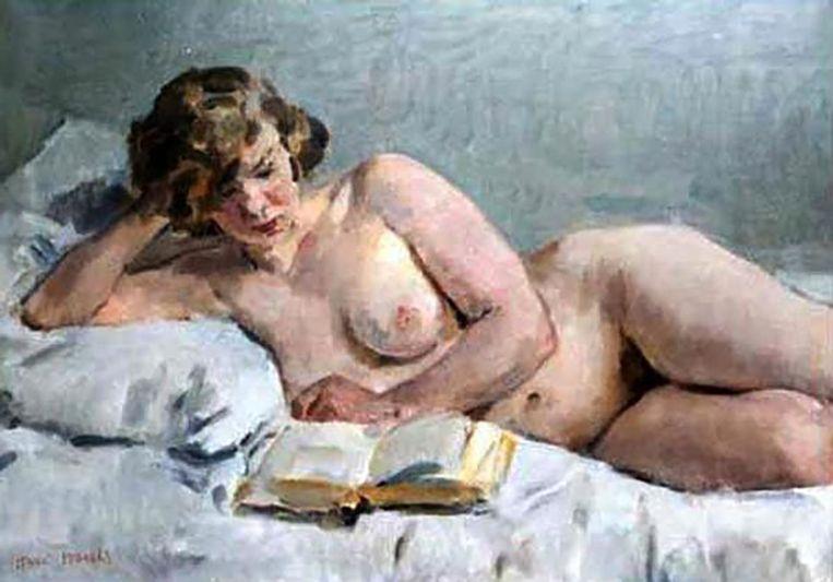Isaac Israels: Liggend naakt (Sjaantje van Ingen lezend)  (1894-1900).  Beeld Privé Collectie