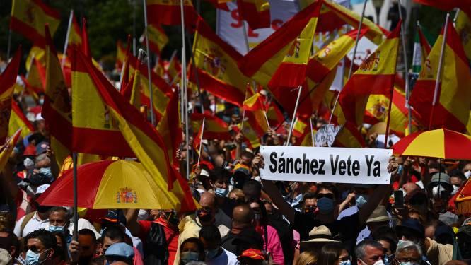 Grote betoging in Madrid tegen voornemen om Catalaanse separatisten vervroegd vrij te laten