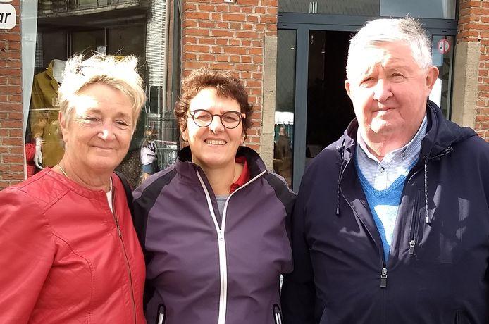De winnaars. Van links naar rechts: Ingrid Fransens, Christel Birchen en Michel Cuypers