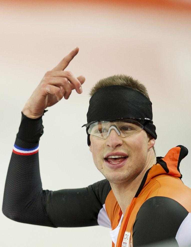 Sven Kramer tijdens een training in de Adler Arena Beeld ANP