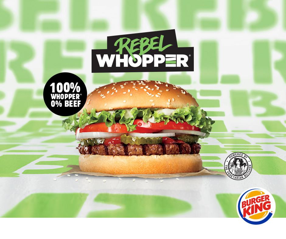 Het lijkt alsof de Rebel Whopper vlees bevat, maar dat is niet het geval.