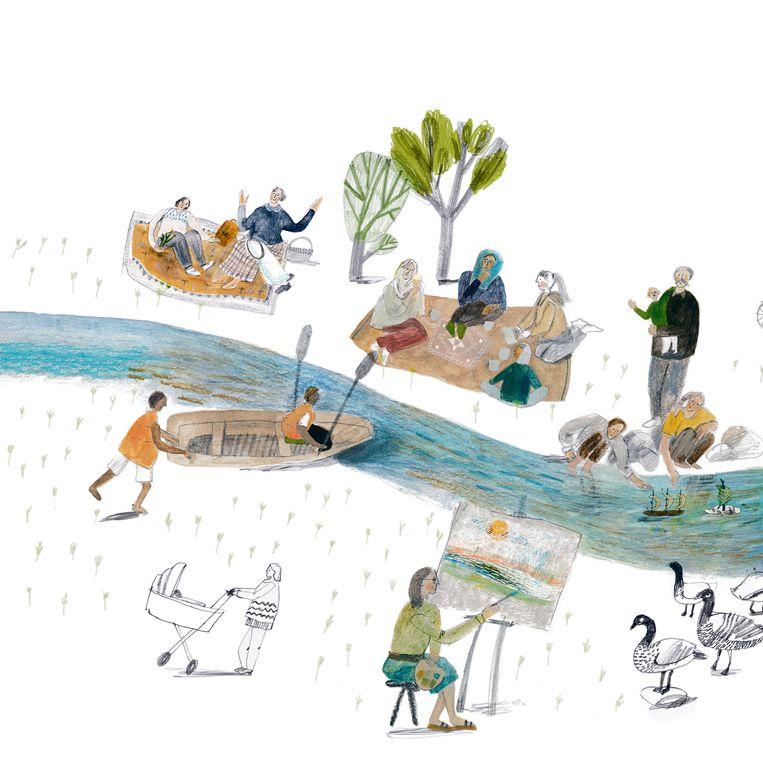 Monika Vaicenavičiene, 'Wat is een rivier?', Davidsfonds/Infodok, 48 p., 17,99 euro. Uit het Zweeds vertaald door Annick Van den Eynde. Vanaf 8 jaar. Beeld rv