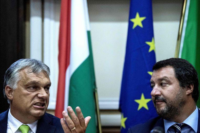 De Italiaanse minister van Binnenlandse Zaken, Matteo Salvini (R), en de Hongaarse premier Viktor Orbán (L). Beeld AFP