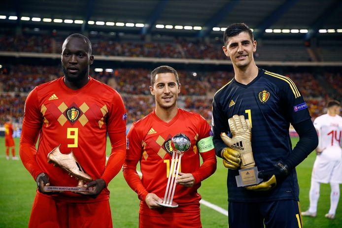 Romelu Lukaku, Eden Hazard et Thibaut Courtois.