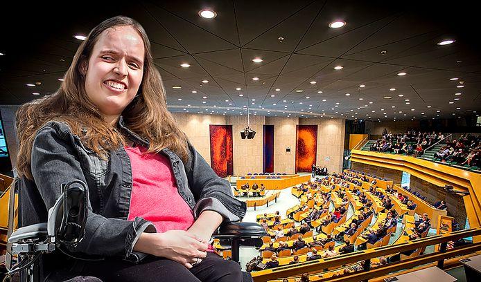 Noortje van Lith in Den Haag voor debat over loondispensatie in Tweede Kamer.