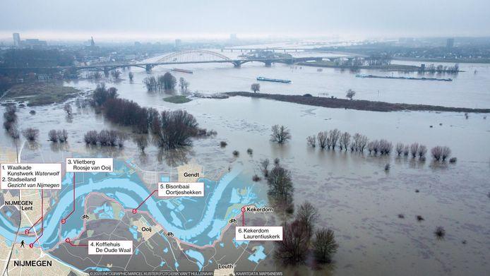 WEB3754, ALLEEN VOOR WEB, infographic Marcel Kuster, foto Erik van 't Hullenaar, hoogwater, kijkplaatsen, Waal, Nijmegen