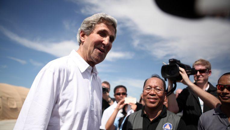 John Kerry vorige week tijdens een bezoek aan de Filipijnen. Beeld getty